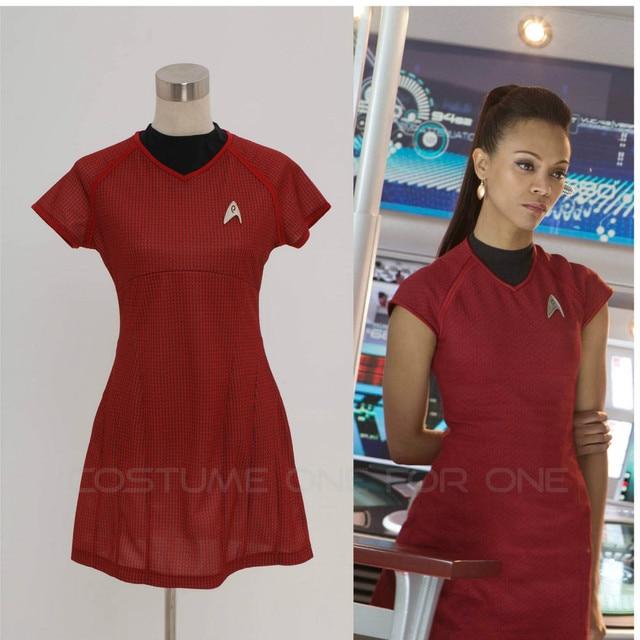 Star Trek Into Darkness Star Fleet Uhura Costume Dress Cosplay Red