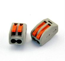 10pcs/lots PCT-212 Spring Splice Lever Push Fit Reuseable Cable 2 Wire Connector 32A 2 Pin Conductor Crimp Terminal