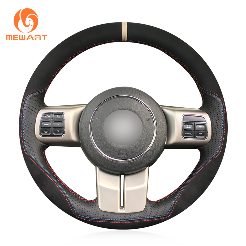 цена MEWANT Black Leather Black Suede Car Steering Wheel Cover for Jeep Grand Cherokee 2011-2013 Compass Wrangler Patriot 2011-2016