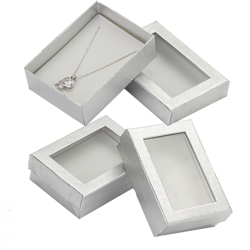 Jewelry Box 7x9cm Silver Transparent Cover Jewelry Set Display Case Cardboard Packaging Necklace Earrings Ring Gift Boxes 24pcs