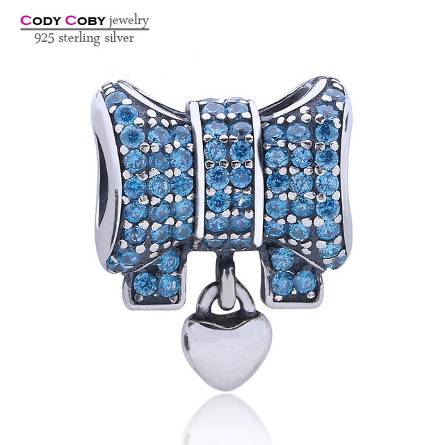 Bow Pave Sky Blue Rhinestone Beads Fit DIY Bracelets 925 Sterling Silver  knot Charms For Lover c38166faa711