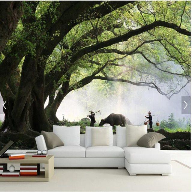 US $17.04 45% OFF|Großen maßstab benutzerdefinierte wandbilder wallpaper 3D  landschaft baum tapete wohnzimmer sofa hintergrund tapeten papel de parede  ...