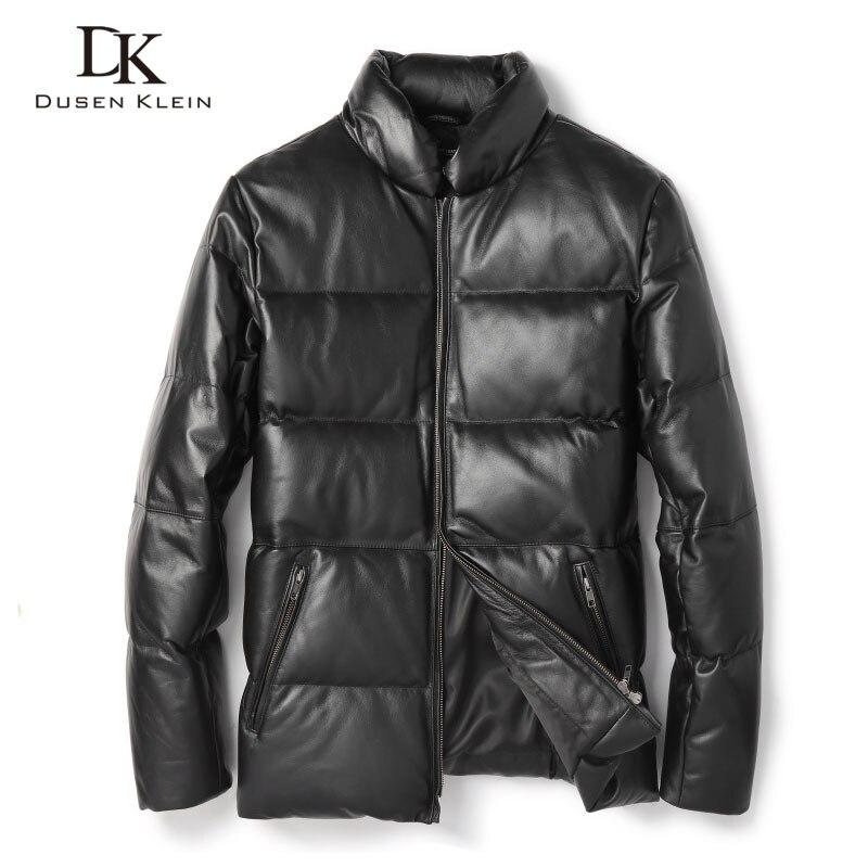 Dusen Klein Men Genuine Leather Down Jackets Winter Warm Coats Sheepskin Leather Outerwear Plus size 2018 Winter New 8M10