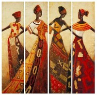 High grade art hand painted 4 Panels abstract portrait dancing African Women figure oil painting canvas wholesale and drop ship