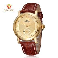 цены OUYAWEI Luxury Brand Men Watch Gold Fashion business Watches Mechanical Hand Wind Wrist watches  Man's  clock Reloj Hombre