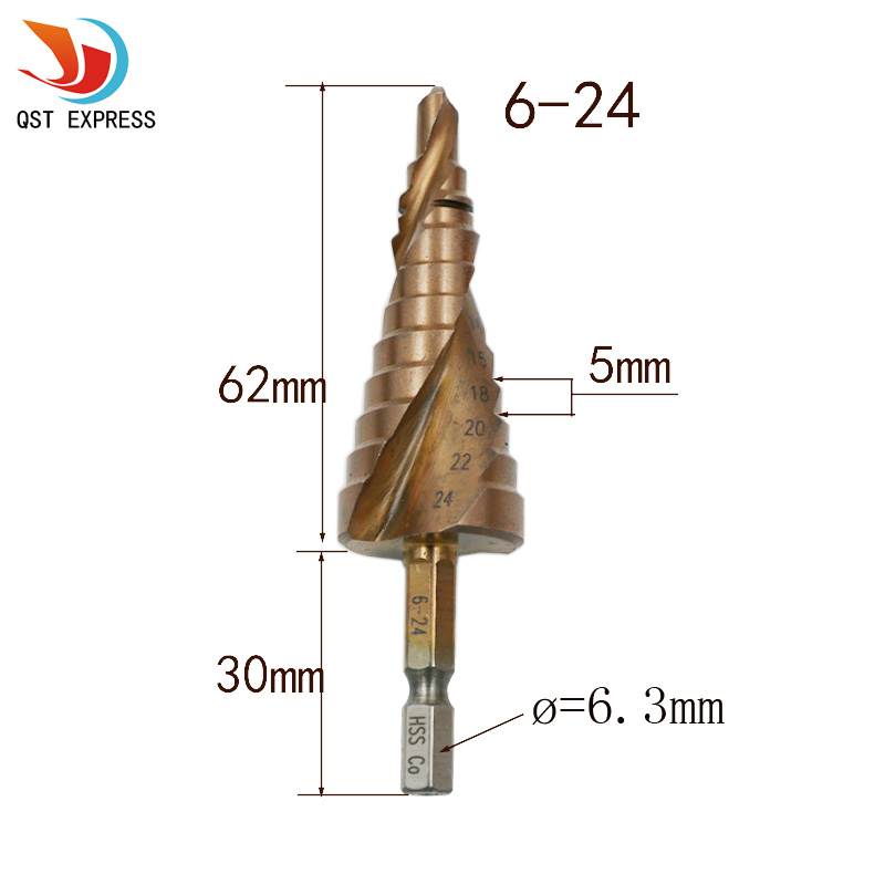 New HSS-Co Cobalt Spiral Grooved Step Drill Bits 1/4 Hex Shank Wood Metal Cone Drilling 6-24mm Hole Saw M35 Multi Tool hss hex shank pocket drill bits
