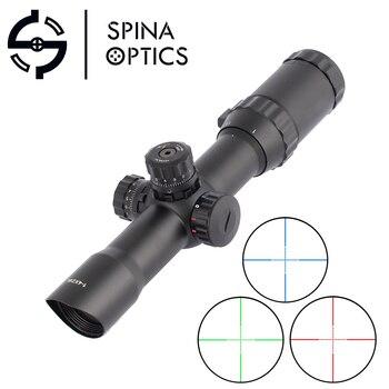 SPINA OPTICS Riflescope 1-4 X 28 Hunting Glass Long Eye Relief Tactical Optical Sight RGB Illuminated Rifle Scope