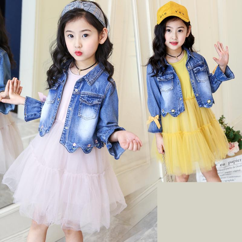 Girls Denim Set 2018 New Kids Spring Suit Girl Set Fashion Children Suit Cute Girl Clothing Cowboy Outwear Denim Jackets + Dress baby fashion clothing kids girls cowboy suit children girls sports denimclothes letter denim jacket t shirt pants 3pcs set 4 13