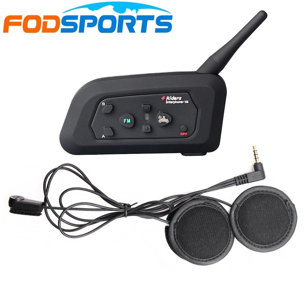 1pc Fodsports V4 Intercom Motorcycle Bluetooth Helmet 4 Riders Talking Moto Headsets Communicator With FM Radio Soft Microphone