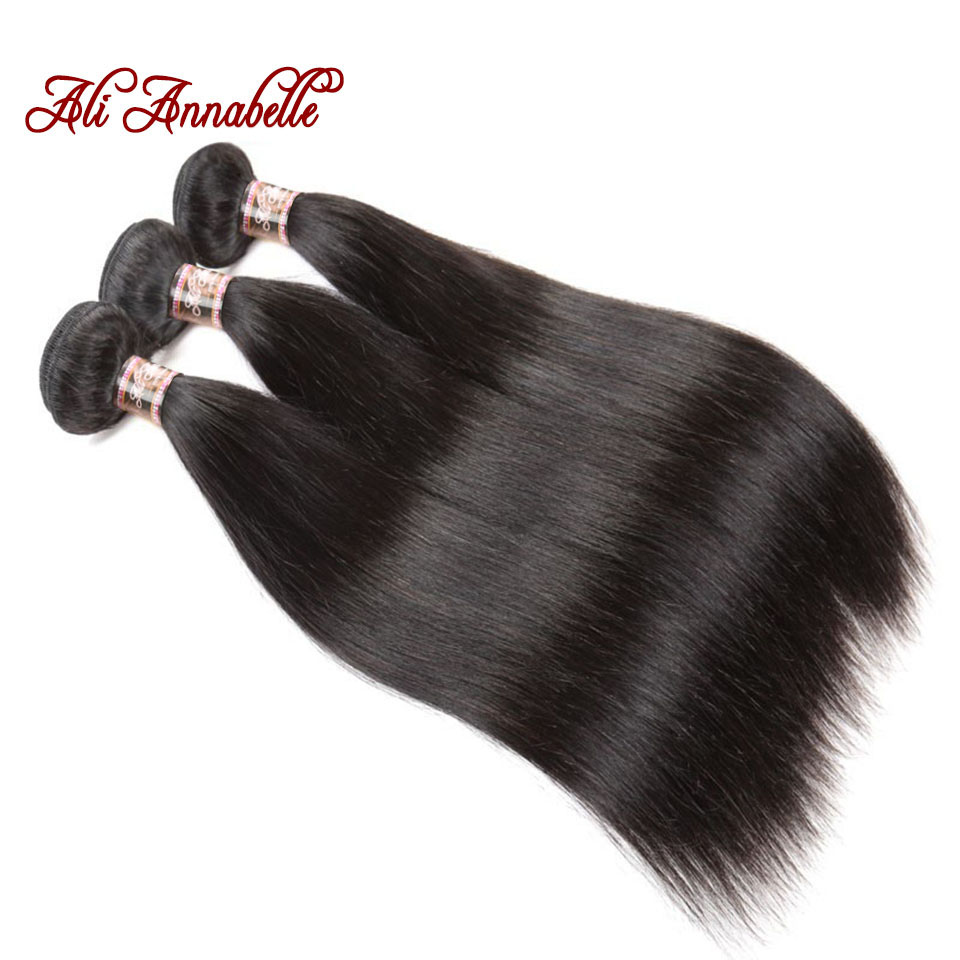 HTB1bOkndaLN8KJjSZFGq6zjrVXaO ALI ANNABELLE HAIR Straight Brazilian Human Hair Bundles With Transparent Lace Frontal/Medium Brown 3 Bundles with Lace Closure