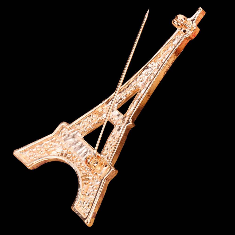 แฟชั่นใหม่โรแมนติกปารีสหอไอเฟลคริสตัลเข็มกลัดสำหรับผู้หญิงที่ระลึกเข็มกลัดpins