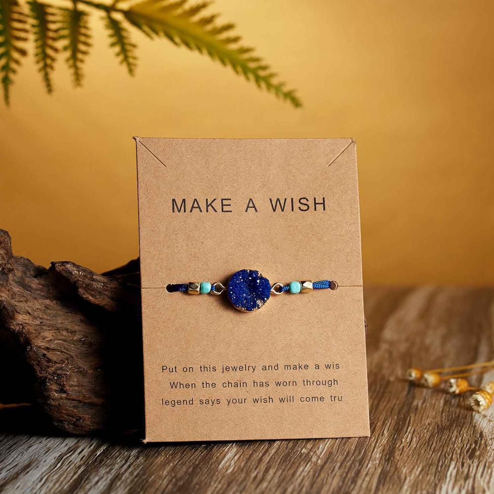 Натуральный камень Новая 7 цветная подвеска тканый браслет с картой Загадай желание регулируемый браслет из веревки для женщин очаровательные подарочные украшения - Окраска металла: 4