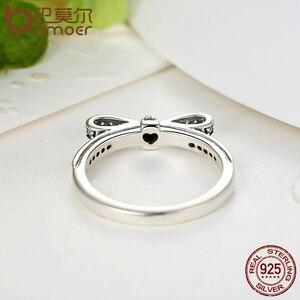 Image 3 - BAMOER 925 סטרלינג כסף נוצץ קשת קשר Stackable טבעת כלה תכשיטי סטי סטרלינג תכשיטי כסף סטי ועוד ZHS022