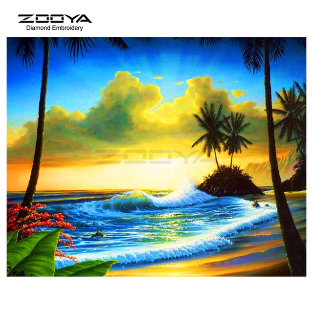Zooya Diamond Embroidery Diamond Painting Scenery Of The Sea Coconut