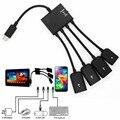 1 unid alta calidad 4 puerto micro usb para la tableta androide smartphone ordenador pc hub otg cable conector de carga de energía spliter