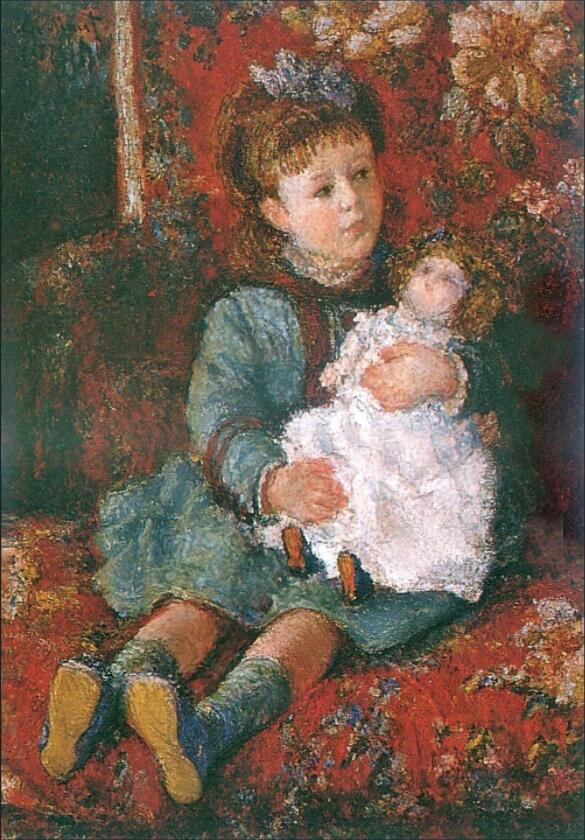 High quality Oil painting Canvas Reproductions Portrait of Germaine Hoschede with a Doll  By Claude Monet Painting hand paintedHigh quality Oil painting Canvas Reproductions Portrait of Germaine Hoschede with a Doll  By Claude Monet Painting hand painted