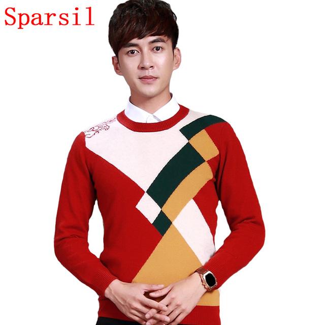 Sparsil hombres otoño suave y cómodo del o-cuello suéteres suéter tejido de punto de lana suéter de punto geométrico