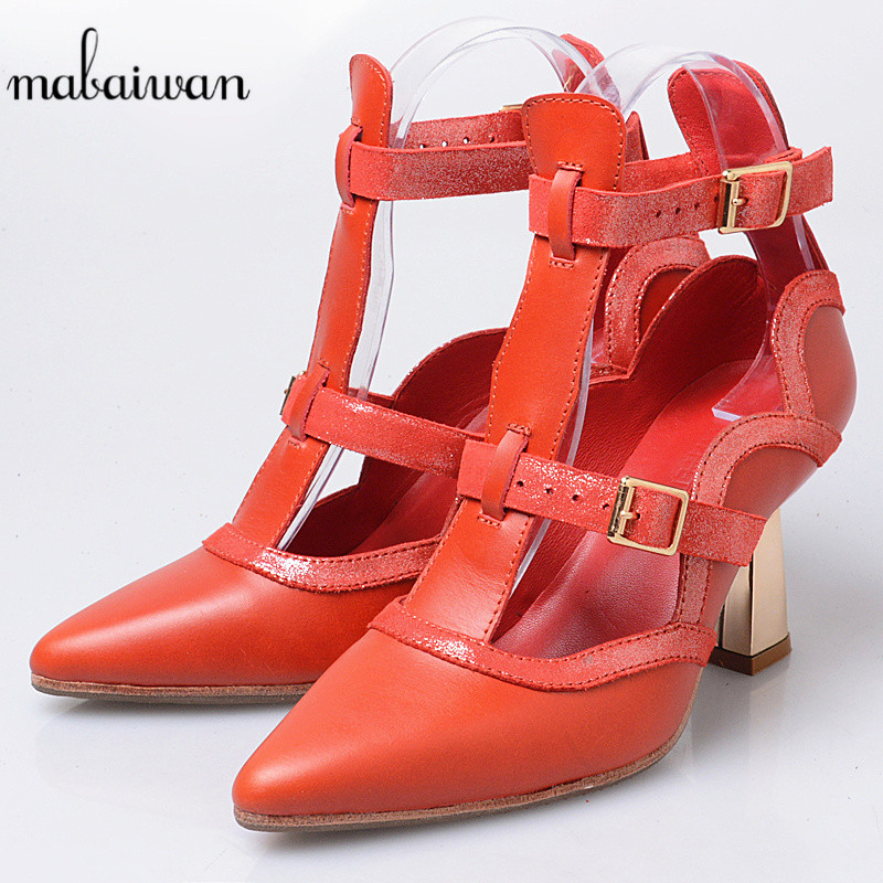 Mabaiwan New Red Women Casual Shoes Summer Sandals Genuine Pointed Toe Leather Shoes Woman Pumps Gladiator Feminino Ankle Boots mabaiwan women shoes genuine leather summer sandals casual platform wedge shoes woman rivets gladiator wedges breathable sandal