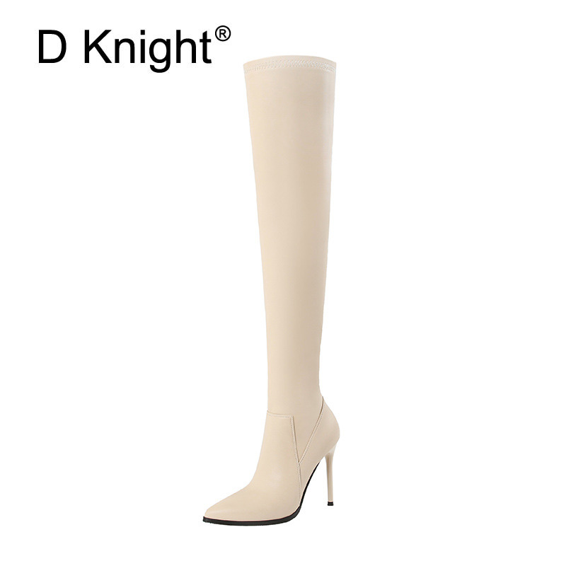 Women Thigh High Boots Autumn Slip On Long Motorcycle Boots Pointed Toe Thin Heels Over the