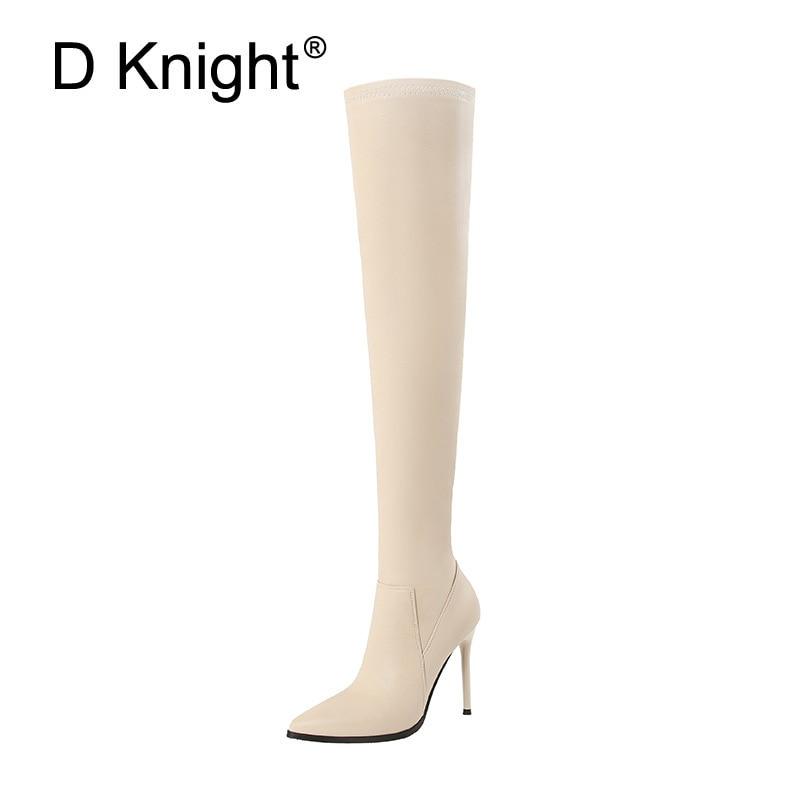 Kobiety udo wysokie buty jesień Slip On długie buty motocyklowe Pointed Toe cienkie obcasy Over the Knee buty czarne beżowe buty kobieta w Buty za kolano od Buty na AliExpress - 11.11_Double 11Singles' Day 1