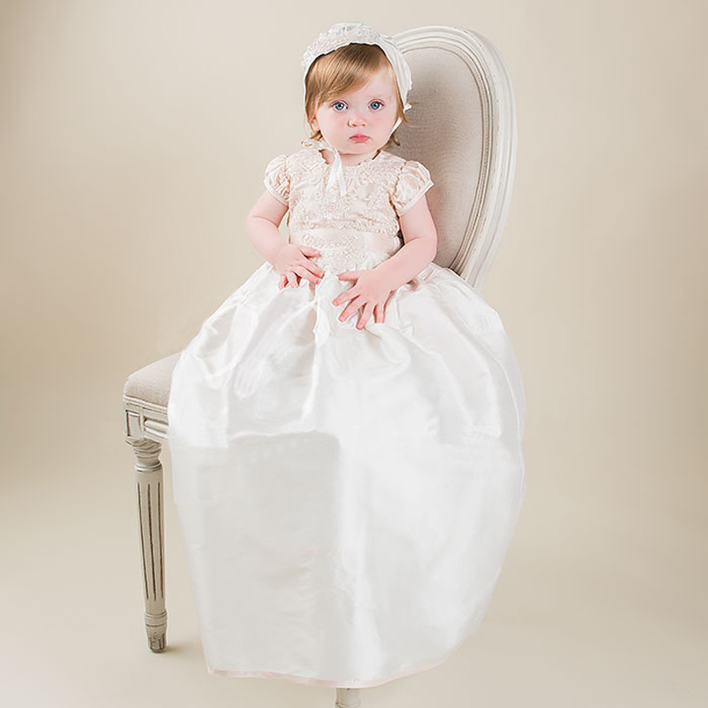 Without Hat Baby Christening Dress Lace Taffeta Appliques Short Sleeves Baby Birthday Baptism Gowns Hot Sale  vestido de noiva hot sale halter beading sequins short homecoming dress