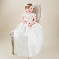 Without Hat Baby Christening Dress Lace Taffeta Appliques Short Sleeves Baby Birthday Baptism Gowns Hot Sale vestido de noiva