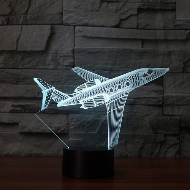New Led Plane Lights Airplane Illusion Table Lamp Colorful Children S Bedroom Night Decoration Boy Gift