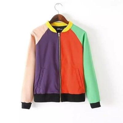Hot sale!2015 fall witner new CONTRAST COLOR patchwork short women bomber jacket coat zipper fashion jacket for female