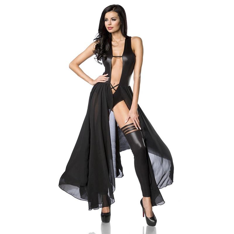 New Stylish   Jumpsuit   For Women Black Catsuit Long Chiffon Deep V Neck Sleeveless Wetlook Faux Leather Sexy Vinyl Bodysuit