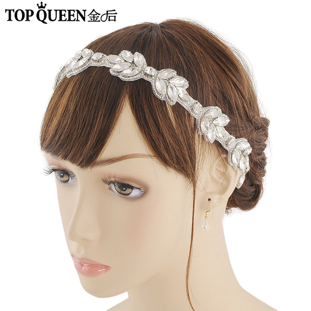 TOPQUEEN H294 Fashion Bridal Wedding Headband Wedding Party Romantic Diamond And Beaded Hairband High Quality Hair Accessories