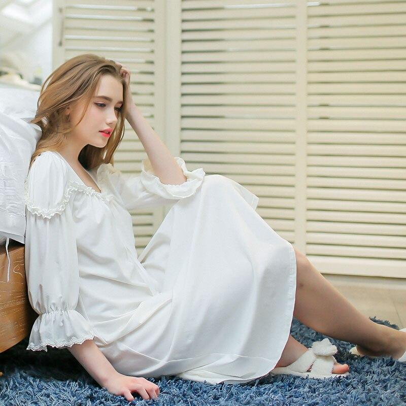 Damen-nachtwäsche Geschickt Frauen Frühjahr Und Sommer Süße Prinzessin Königliche Nachthemd 100% Baumwolle Lange-sleeve Lounge Laciness Spitze Lange Design Nachtwäsche Weibliche StraßEnpreis