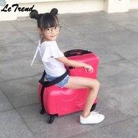 PC Rode детей прокатки Спиннер для багажа 24 дюймов колёса Чемодан Дети кабина тележка студент дорожная сумка милый ребенок Carry On Trunk