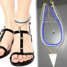 Beach Gold Triangle Blue Beads Chain Ankle Bracelet Bangle Foot Sandal Anklet Jewelry