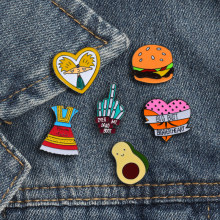 Brooch Enamel Badge Cartoon Character Icon Girl Skirt Peach Hamburg Lapel Pin women Jackets Backpack Fashion Jewelry Accessories(China)