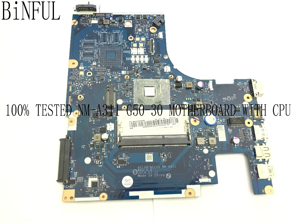 BiNFUL 100% TESTED ACLU9/ACLU0 NM-A311 TESTED LAPTOP MOTHERBOARD FOR LENOVO G50-30 NOTEBOOK WITH PROCESSOR