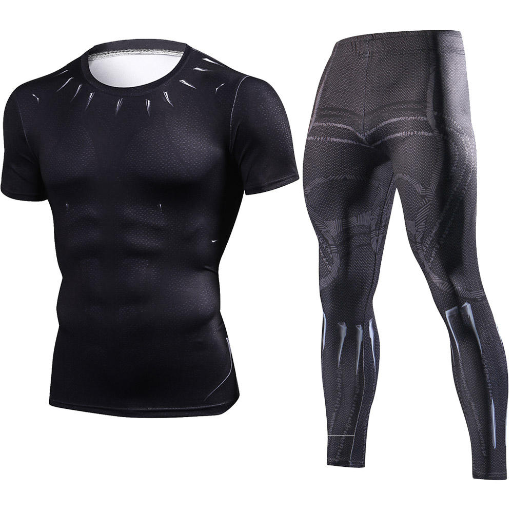 Avengers 3 Infinity War Black Panther Slim Tight T-Shirt Sets Superhero Tracksuit 3D Compression Shirts Suits Fitness Tights