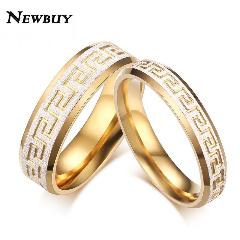 newbuy vintage design wedding bands rings for lover greek key pattern gold color promise engagement - Wedding Ring Designers
