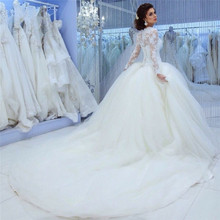 kejiadian Ball Gown Fluffy Long Sleeve Wedding Dresses 2019