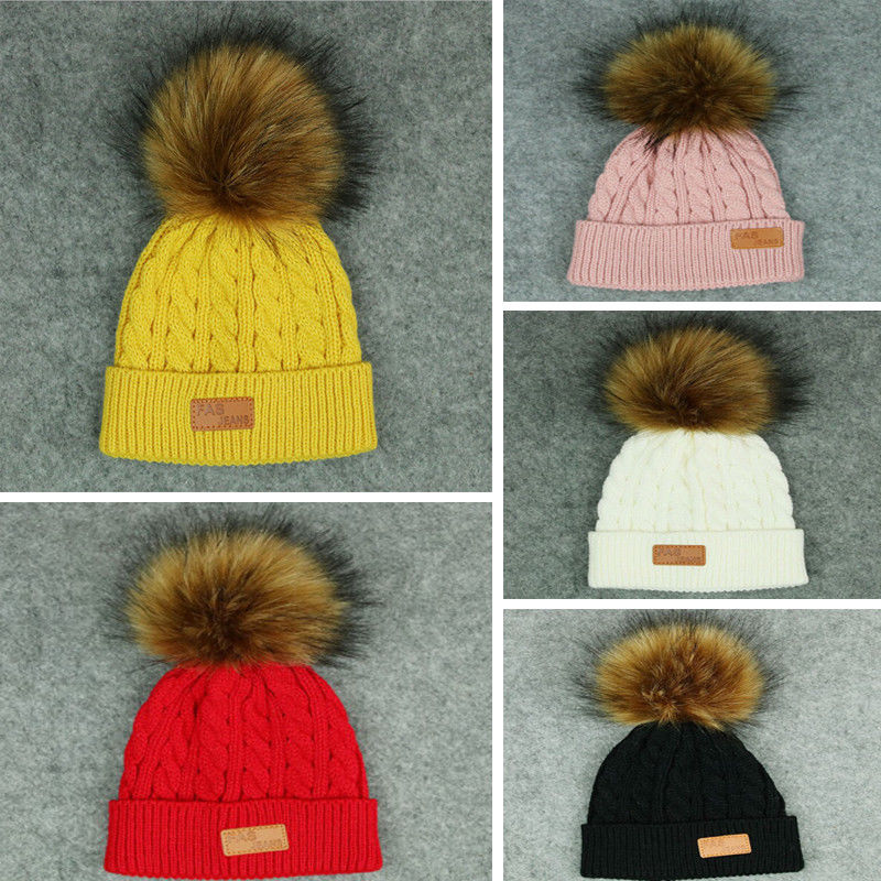 HIRIGIN 2017 Child Kids Warm Winter Crochet Ski Cap Wool Knit Beanie With Pompom Ball Raccoon Fur Bobble Hat for girls