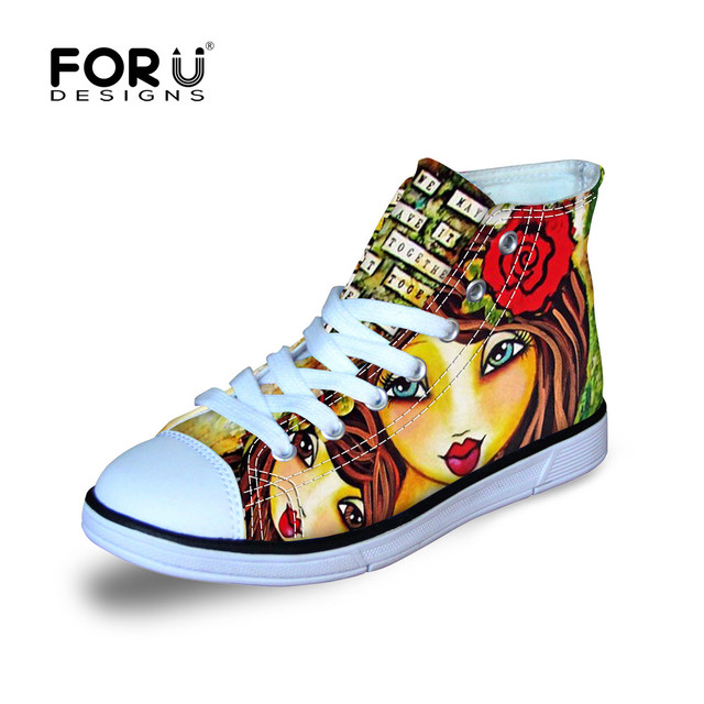 FORUDESIGNS Cartoon Girls Painted Shoes High-Top Cartoon Character Chilren Graffiti Canvas Sneakers Lace Up Flower Kawaii Girl