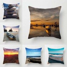 Fuwatacchi Beach Scenic Cushion Cover Sailing Sunset Printed Pillow Turtle Canyon Pillowcases For Sofa Decorative