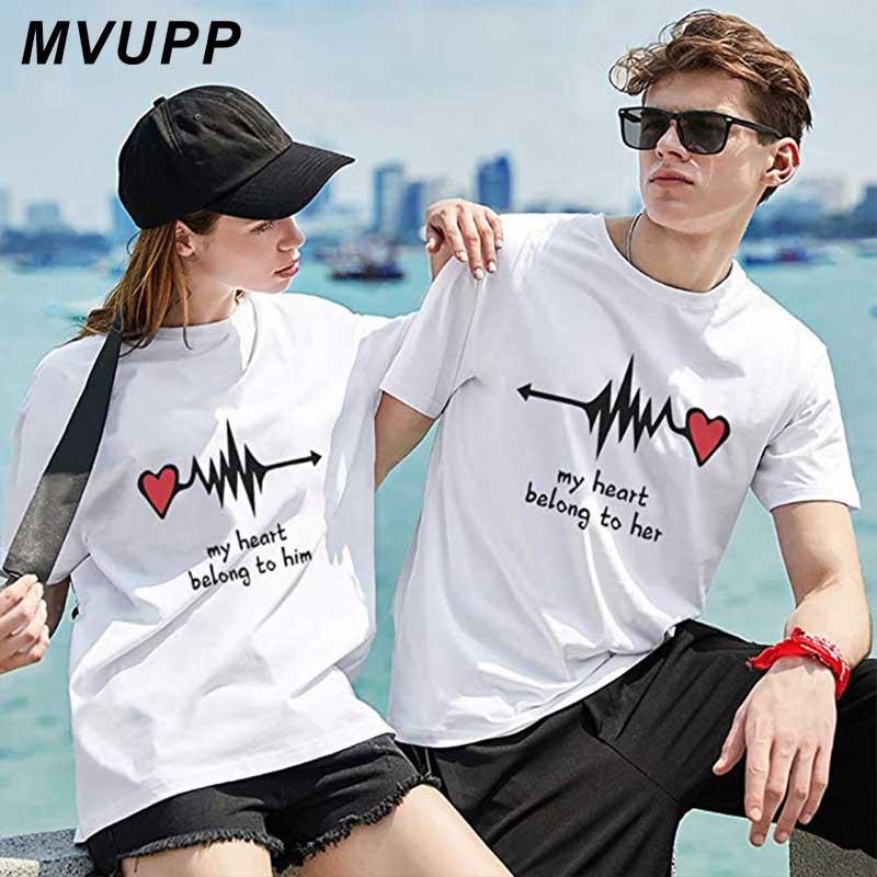 Men Women Love Heartbeat Printed Short Sleeve T-Shirt