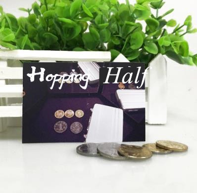 Recommend! Best Coin Magic Hopping Half With Expanded Shell Coins & English Penny,Magic Trick,Close Up,Fun,Coin&Money Magic