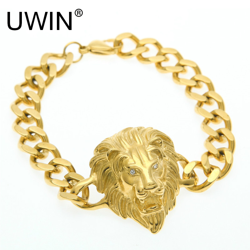 UWIN Men Hip hop Bracelet Stainless Steel Punk Style 24k Gold ...