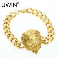 UWIN Men Hip hop Bracelet Stainless Steel Punk Style 24k Gold Color Cuban Link Lion head Bracelet Fashion Jewelry 20mm