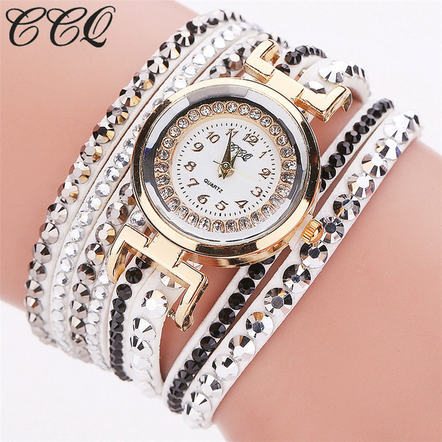 CCQ Brand Gold Crystal Fashion Bracelet Watch Women Casual Leather Clock Female