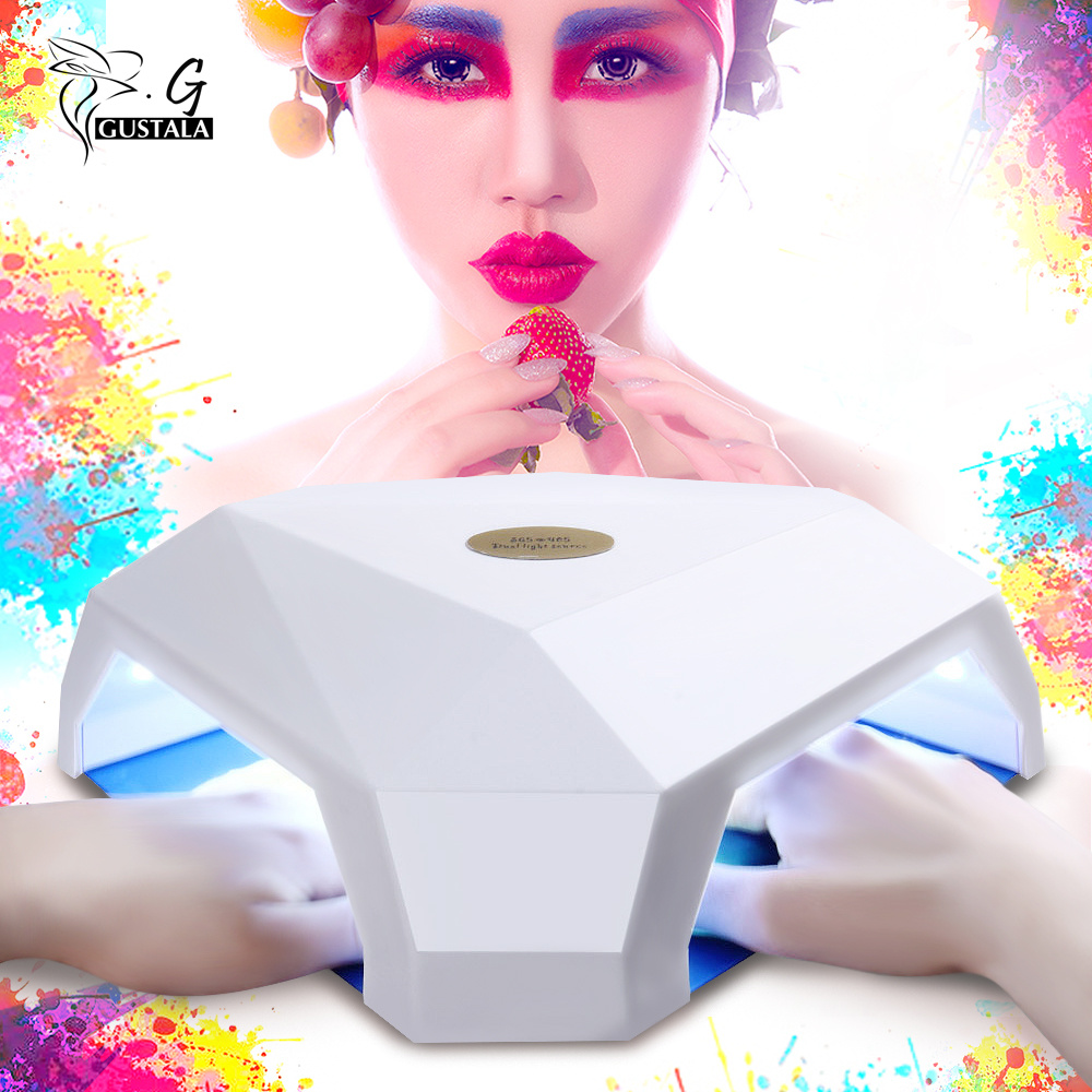 GUSTALA 60W LED UV Gel Nail Lamp Dryer Manicure Tool Automatic Induction Nail Lamp for Curing Nail Gel Polish Double Hole Design sunuv sun4 48w professional uv led nail dryer lamp gel polish nail dryer manicure tool for curing nail gel polish nail drill set