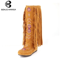 BONJOMARISA 2019 Autumn Winter 34 48 Hot Sale Bohemia Fringe Knee High Boots Women Fashion Embroider Casual Women Shoes Woman