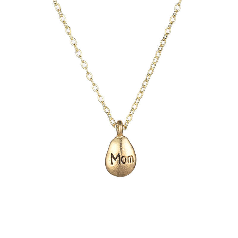 Fashion Jewelry Mom Word Pebbles Pendant Necklace For Women