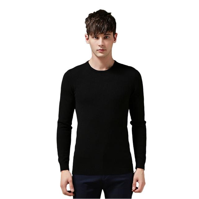 Suéter de Los Hombres casuales 2017 de Primavera Para Hombre Suéteres de Algodón O cuello lleno de Hombres Suéter de manga larga Slim Fit Solid Jerseys Suéter Tejido 609